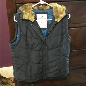 American Eagle Outfitters vest with fur hood. XL